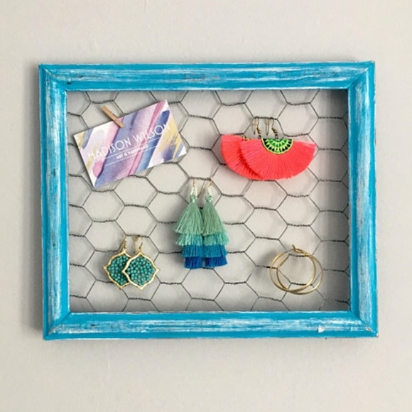 Jewelry | Bright Blue Chicken Wire Frame Earring Holder | Poshmark