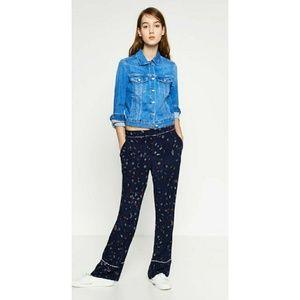 Nwt Zara pyjama style trousers blue print S