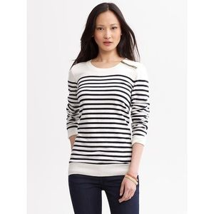 Navy Blue&White Banana Republic Zipper Sweatshirt