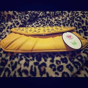 Mustard yellow and silver clutch