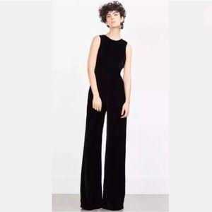 NWT Zara Black Velvet jumpsuit size small