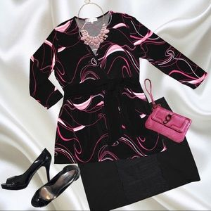 Dressbarn Black and Pink A-Line Tunic