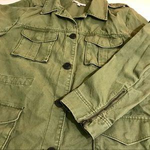 Gap XL Army Green Military Cargo Jacket Zip Cuffs