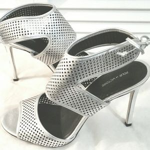 Pour La Victoire Silver High Heel Sandals Sz 9