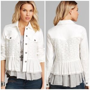 Free People Denim and Lace Mix Jacket