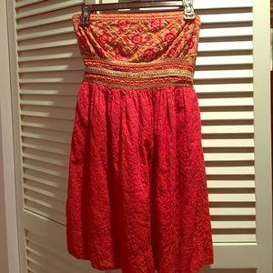 embroidered strapless summer dress