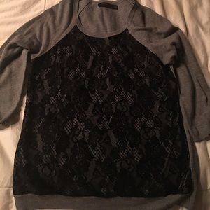Sweater with floral-lace detail