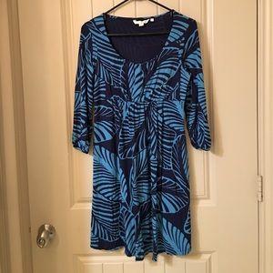 BODEN long Sleeve Popover Leaf Design Dress US 6