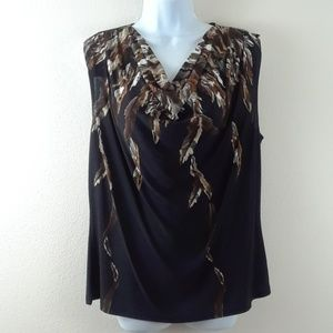 DRESSBARN DROOP NECK FEATHER PRINT TOP