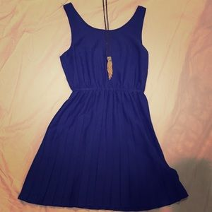 Cobalt blue pleated dress
