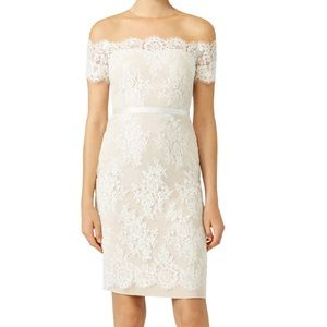 Marchesa Notte Ivory Lace Cocktail Sheath Dress