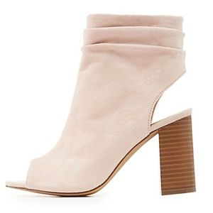Blush peep toe ankle bootie