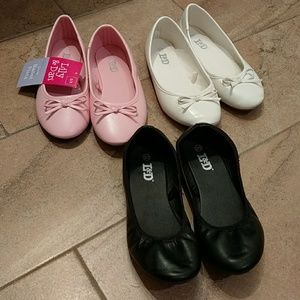 BUNDLE Girls ballet flats pink/ white/ black