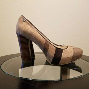 Calvin Klein Gabbey Brown Suede w/ Stack Heel 7M