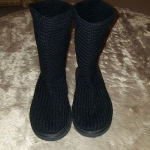 Cable Knit black Boots (UGG style)