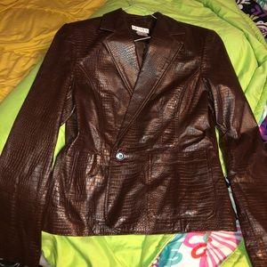 Worthington brown croc print 100% leather jacket