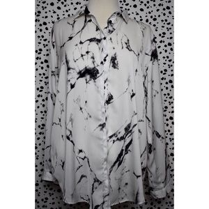 Zara White Marble Button Down Long Sleeve Large