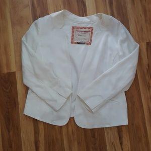 Cartonnier Anthropologie White Split Back Blazer