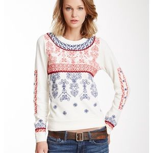 XS Lucky Embroidered Crew Neck Pullover