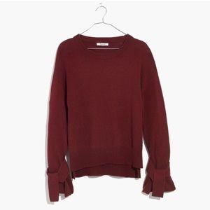 Madewell Burgundy Tie Cuff Pullover Sweater