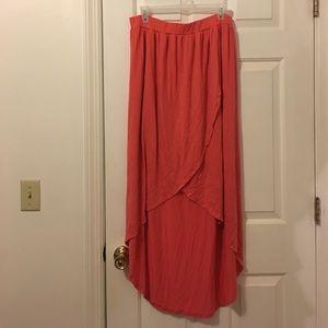 Peach Coral Hi-Lo Asymmetrical Skirt