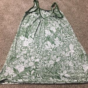 Green And White Floral Tank Top
