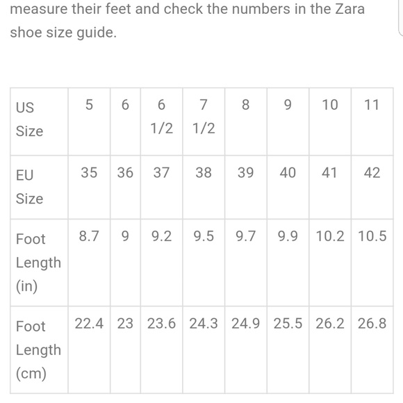 sports shoes 1c94b d9f21 Zara shoe size chart