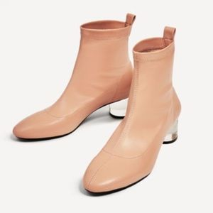 🎀NWT Zara Lucite methacrylate ankle sock boots