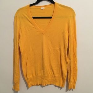 Gold J. Crew 100% Cotton V Neck Sweater