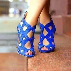 Zara blue laser cutout heels