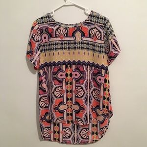 High Low Printed Zoe Blouse