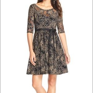 Tracy Reese Black/Tan lace cocktail dress