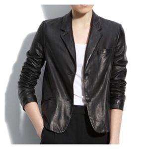 Vintage Genuine Leather Black Blazer Jacket 10 M L