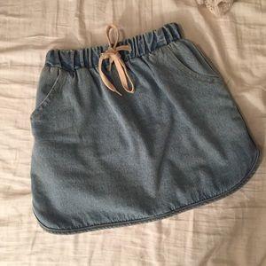 Jean Tie Mini Skirt