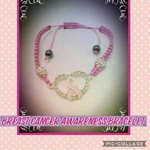 Breast Cancer Rhinestone Crystal Braided Bracelet