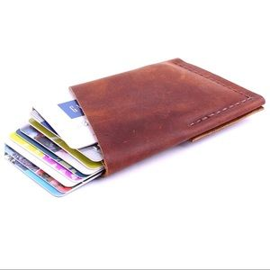 Other - BROWN GRAIN LEATHER CHOCOLATE MENS FOLIO WALLET