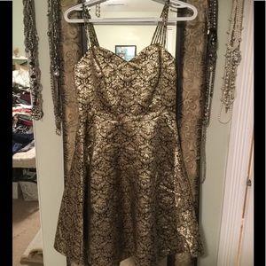 Black and Gold foil Phoebe Dress
