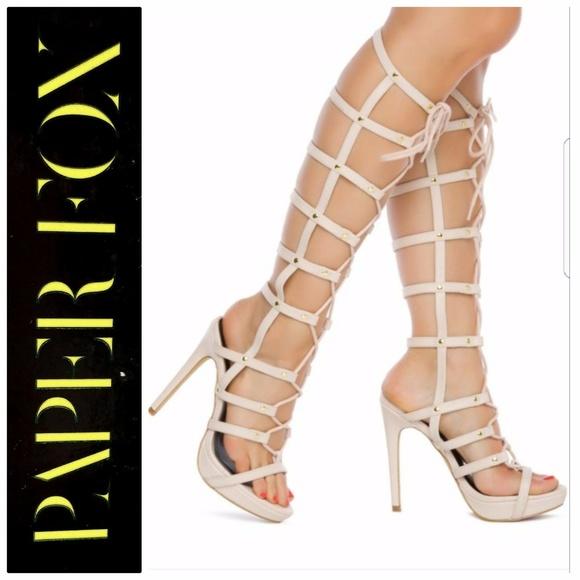 9b576b2c79b Paper Fox Nude Star Platform Gladiator heels 7
