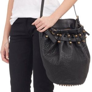 Auth Alexander Wang leather black stud bucket bag
