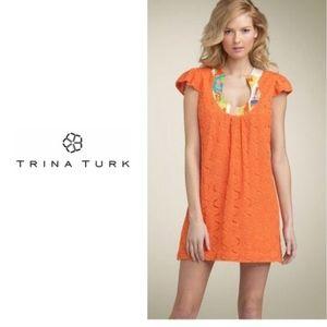 Trina Turk Bonita Crochet Knit Sun Dress Silk SZ 2