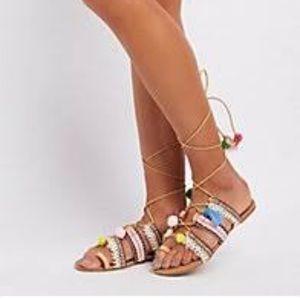 Brand New Pom Pom gladiator sandals size 8