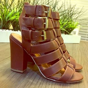 Brown Ankle Strap Open Toe Booties