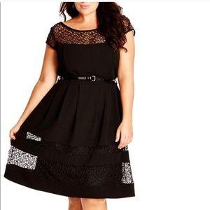 City Chic Net Black dress szS