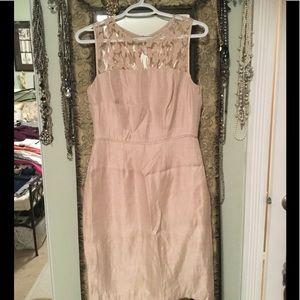 Adrianna Papell light pink lace yoke dress