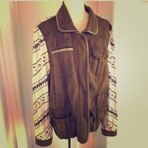 Free People Jacket Size Large L Dark Green linen