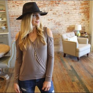 Taupe cold shoulder cross long sleeve top