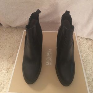 Michael Kors Black Leather Thea Wedge Bootie