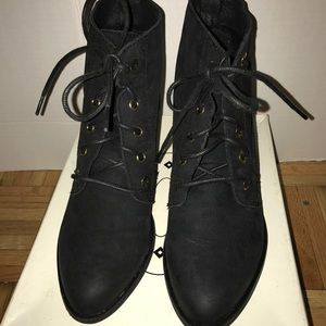 Steve Madden Black Suede Lace up Booties.