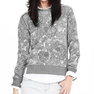 Banana Republic Floral Appliqué Sweatshirt in Gray