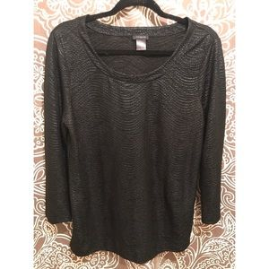 ANN TAYLOR BLACK SHIMMER TOP